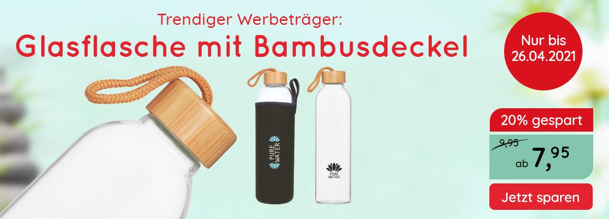 Glasflasche Bamboo – Saalfrank Qualitäts-Werbeartikel