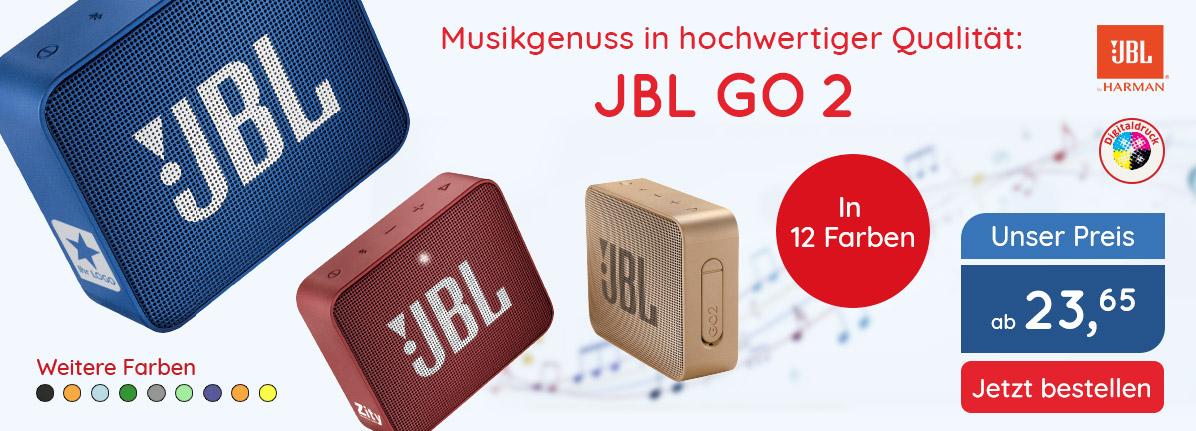 JBL Bluetooth Lautsprecher GO 2 – Saalfrank Qualitäts-Werbeartikel