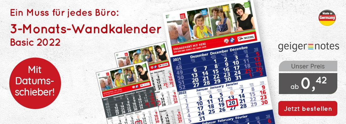 3-Monats-Wandkalender Basic 2022 bei – Saalfrank Qualitäts-Werbeartikel
