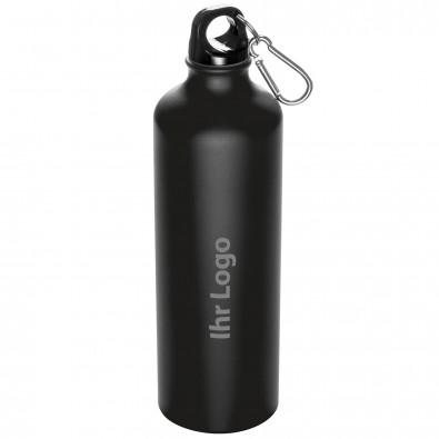 Trinkflasche aus Aluminium mit Karabiner, 800 ml, Schwarz-Matt