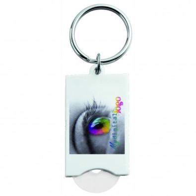 Schlüsselanhänger mit Einkaufswagenchip Quadro, Weiß