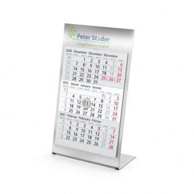Tisch-Aufstellkalender Desktop 3 Steel Bestseller, 2 Jahre, hellgrau 95 x 135 mm