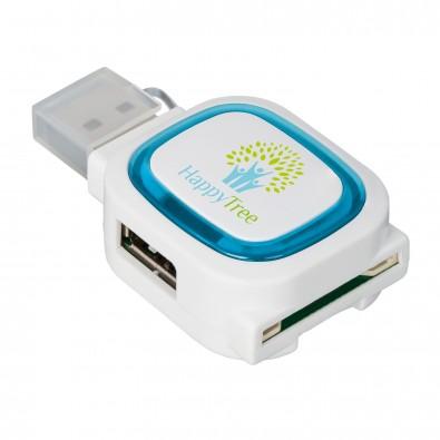 USB-Hub mit 2 Anschlüssen und Speicherkartenlesegerät REFLECTS-COLLECTION 500, hellblau