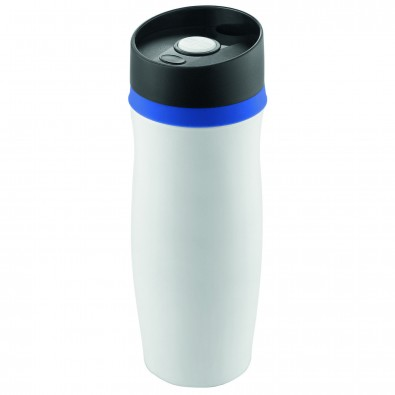 Vakuum-Thermobecher Metall, Weiß/Blau